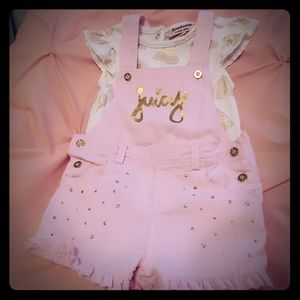 Pink Juicy Couture Overall and Tshirt Set